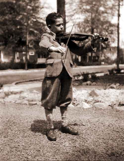 Robert McAfee Brown playing violin as a child